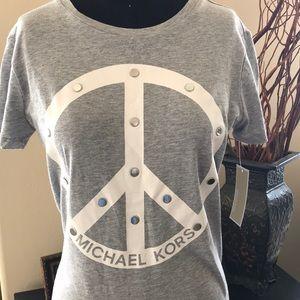 "Michael Kors Grey T Shirt ""Peace"" SZ S"